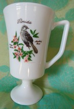 FLORIDA footed cup/mug State flower and bird souvenir milk glass? - $5.93