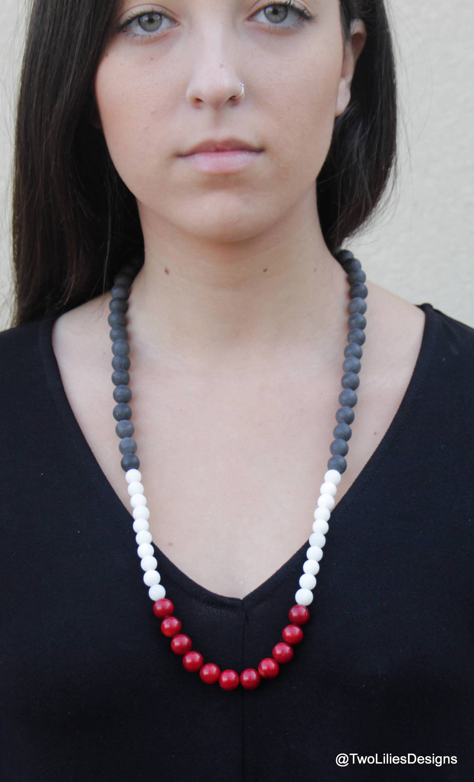 Long Beaded Necklace, Coral and Ice Quartz beads, Modern necklace with large bea
