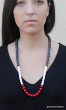Long Beaded Necklace, Coral and Ice Quartz beads, Modern necklace with l... - $64.80