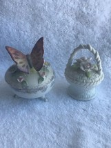 2 pieces Vintage ceramic Trinket box butterfly basket Lefton copadiamonte - $20.78