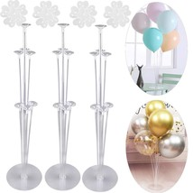 3 Sets Balloon Stand Holder Kit with 7 Sticks 7 Cups and 1 Base - Table Desktop  - $29.89