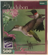 """New Audubon 500 Pieces Ruby-Throated Hummingbird puzzle 18"""" x 18"""" W/ Poster - $15.19"""