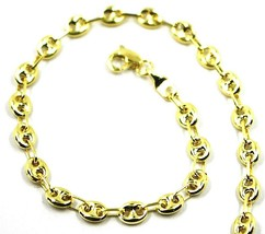 9K GOLD BRACELET NAUTICAL MARINER OVALS 4 MM THICKNESS, 21 CM, 8.3 INCHES image 1