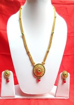 Fashion Jewelry Set Indian Gold Plated Ruby Red Green Long Necklace Earrings - $25.71