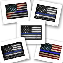 Thin Blue Line American Flag Design Law Enforcement Police Sheriff Photo... - $10.84+