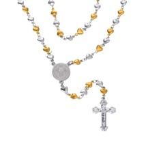U7 Catholic Rosary Beads Necklace with Metalic Crucifix Stainless Steel ... - $29.99