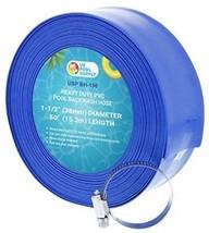 U.S. Pool Supply 1-1/2 X 50' Heavy Duty Blue PVC Swimming Pool Backwash... - $56.63