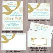 Gold Glitter Mermaid Baby Shower Invitation Set of 12 Invitations thank you - £11.21 GBP