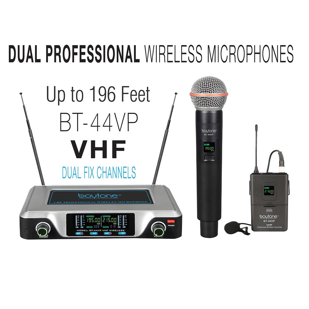 Boytone BT-44VP Dual Digital Channel Wireless Microphone plus Headset Mic Set Sy