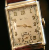 Handsome vintage WWII 1944 men's Bulova 21 jewel Swiss 14K solid gold wr... - $559.35