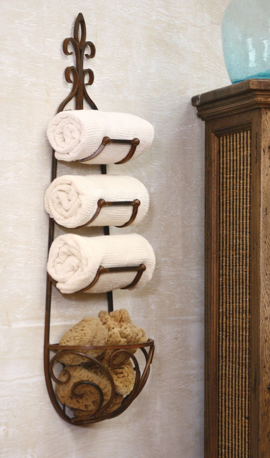 TUSCAN/COUNTRY WROUGHT IRON TOWEL RACK WITH BASKET