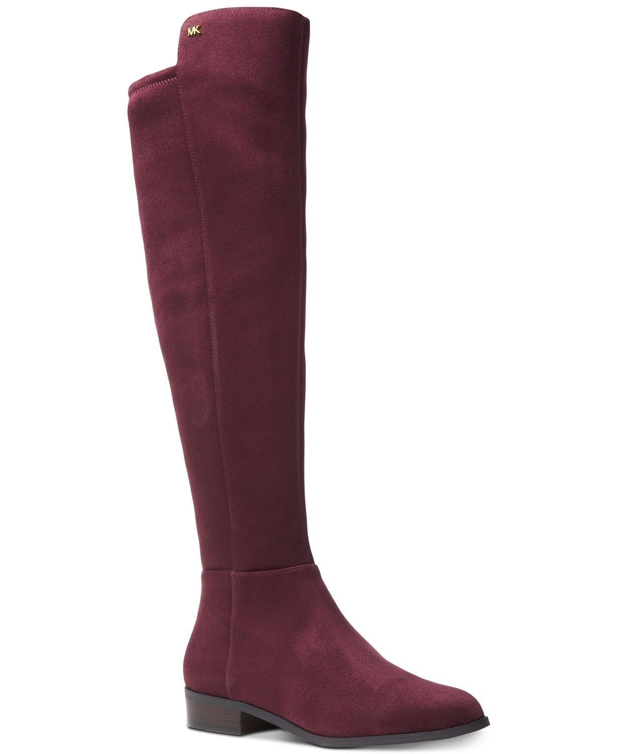 Michael Kors MK Women's Tall Suede Bromley Flat Riding Boots Shoes Damson