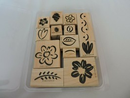 Fanciful Flowers Stampin Up Mounted Stamp Set 13 Floral Leaves Stems Bor... - $9.90