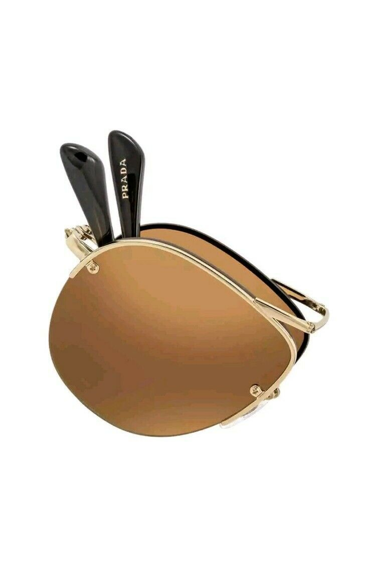NEW PRADA Folding Sunglasses SPR 54US ZVN-1K2 Gold /Gradient Mirror Gold 55mm