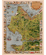 Monterey Peninsula and Del Monte Properties Pictorial Wall Map Poster Jo... - $12.87+