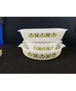 "3 Vtg FIRE KING 9"" 1Q Casserole Dishes Bowls Green Meadow Floral #429 #4... - $22.75"