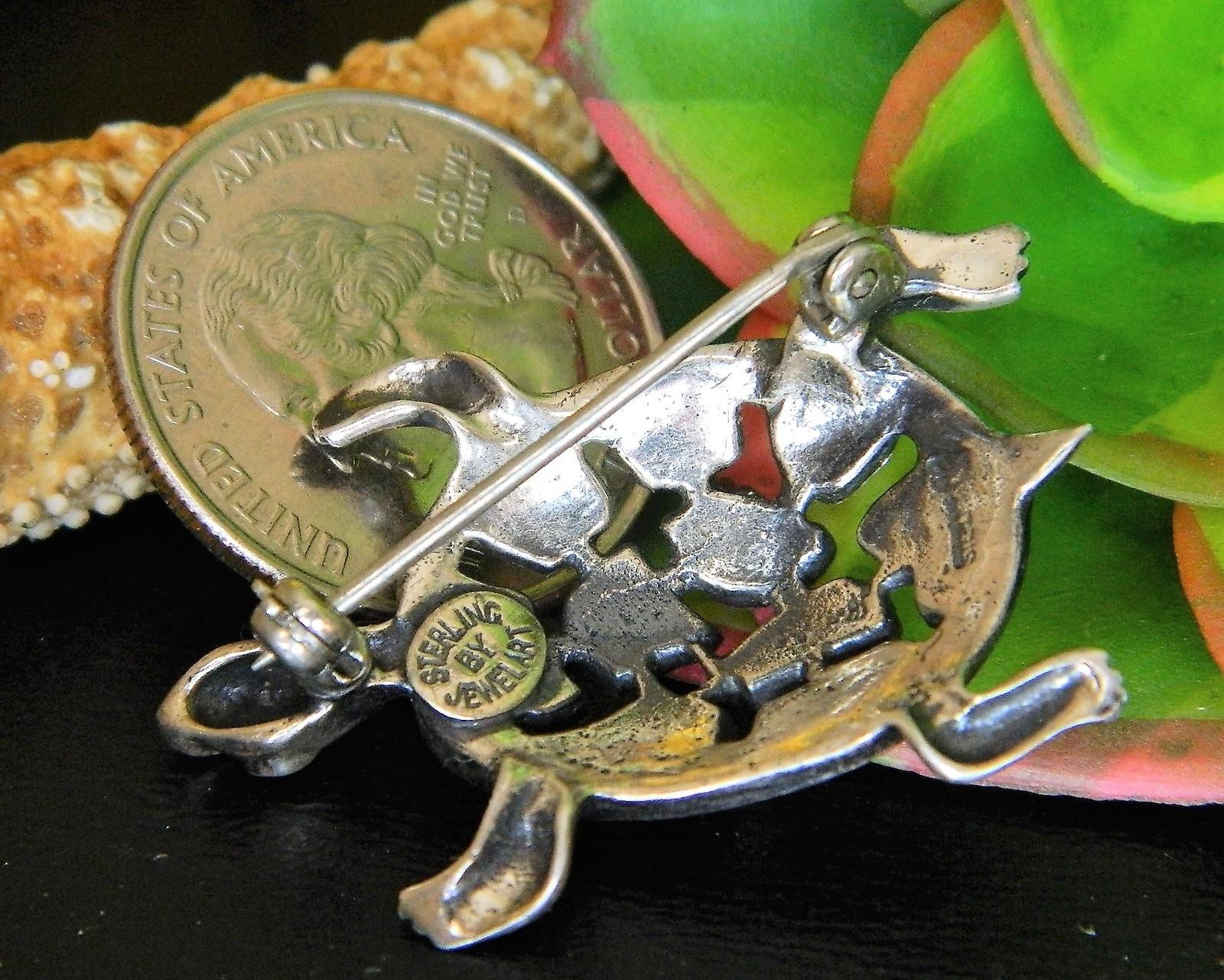 Vintage Turtle Tortoise Brooch Pin Sterling Silver JewelArt Figural