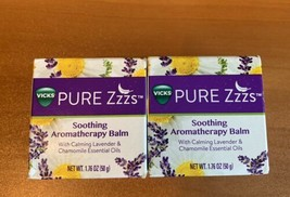 2 Vicks Pure Zzzs Soothing Aromatherapy Balm Calming 1.76oz Each Essenti... - $11.37