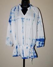 J.A.K. Print Cotton Tunic Top w/Slot Collar Size: L