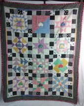 Handmade Quilt With Monopoly Patches Homemade Ducks Flowers Polka Dots 5... - $74.24