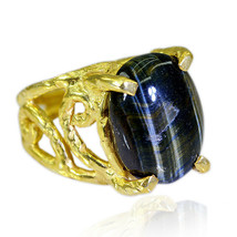 appealing Tiger Eye Gold Plated Brown Ring genuine ordinary US gift - $27.99