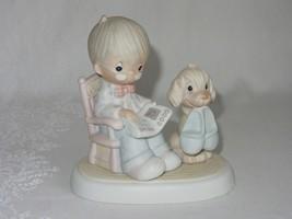 Precious Moments The Perfect Grandpa Figurine E-7160 Boy Dog Slippers 19... - $19.30