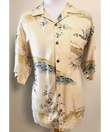 Tommy Bahama Silk Shirt L Hawaiian Yellow Floral Trees Print Large Vacation - $29.65
