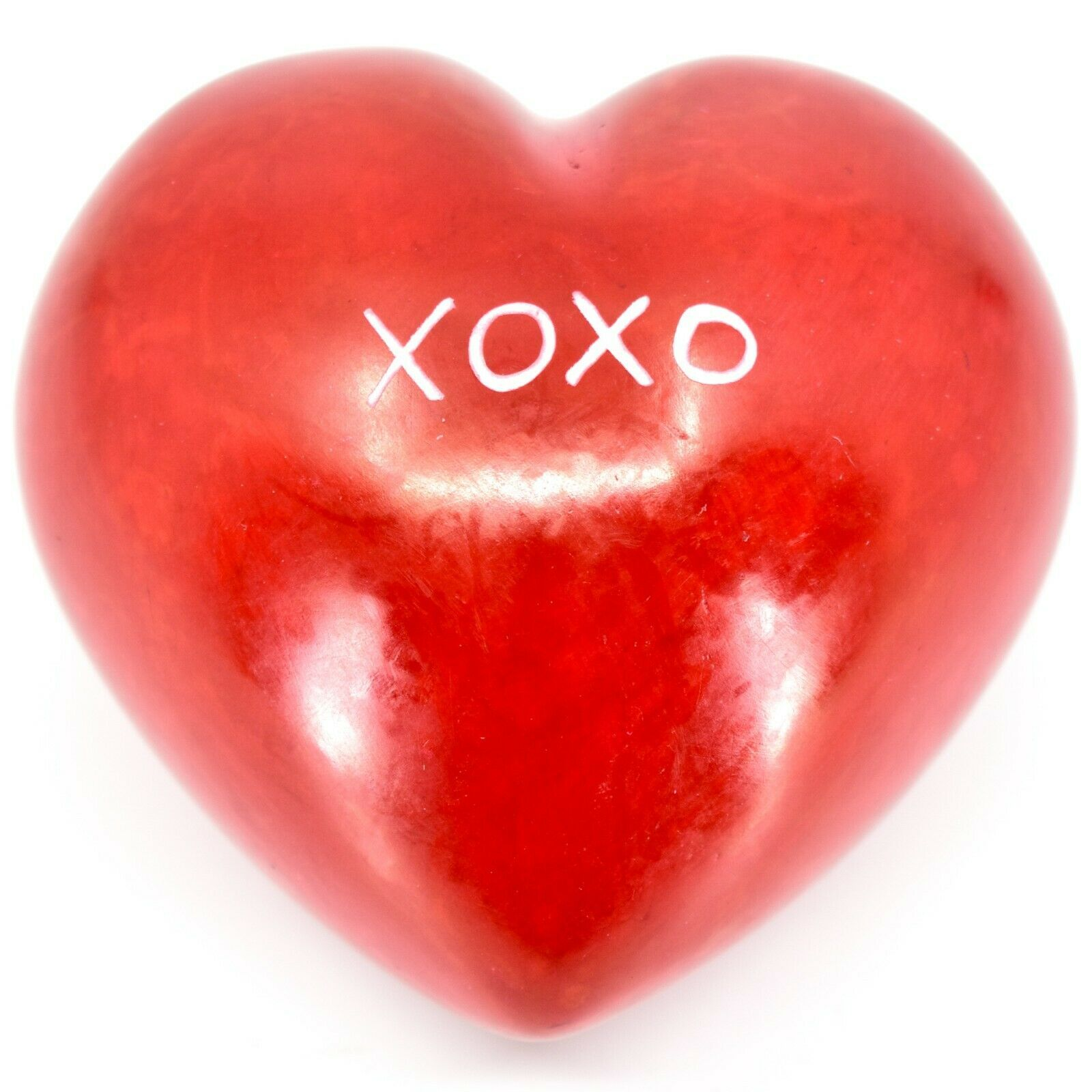 "Vaneal Group Hand Carved Soapstone 2-Sided Red ""XOXO"" Love Heart Paperweight"