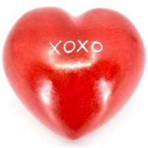 "Vaneal Group Hand Carved Soapstone 2-Sided Red ""XOXO"" Love Heart Paperweight image 1"