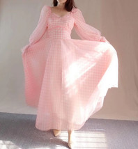 Pink Tutu Dress for Adults Gown Long Sleeve Retro Pink Plaid Tutu Birthday Gown image 5