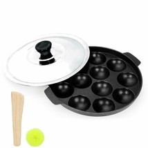Appam Patra Non Stick Pan 6 & 12 Cavities With Stainless Steel Lid Free ... - $15.40+