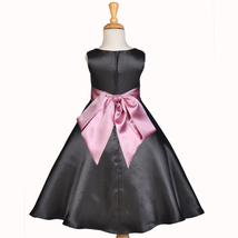 Black A-Line Satin Flower Girl Dress Pageant Wedding Bride Recital Toddl... - $38.99