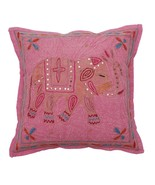 "16 "" Elephant Aari Zari Vintage Decorative Pillow/Cushion Cover Pink - $8.90"