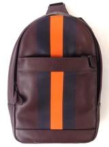 NEW MENS COACH (F72226) CHARLES OXBLOOD VARSITY LEATHER SLING PACK BAG B... - $149.00