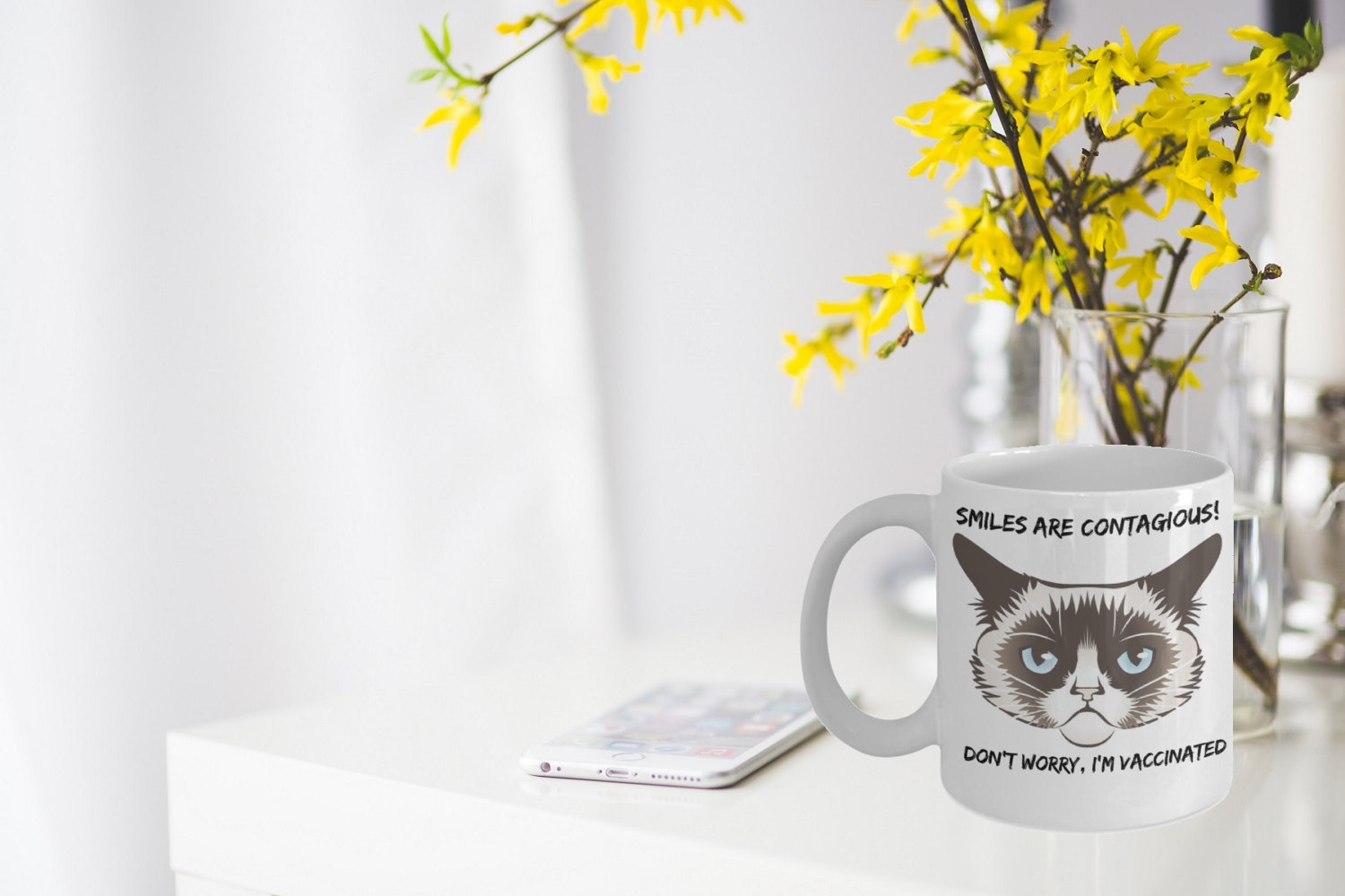 "Funny Grumpy Cat Mug ""Smiles Are Contagious, Don't Worry I'm Vaccinated Grumpy C"