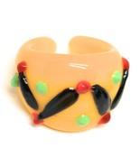 Ring Antique Murrina, Murano Glass, Black, Yellow, Wave, Polka Dot Embossed - $41.39