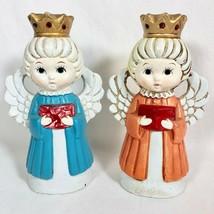 Vintage Angel Candle Holder Set Choir Singing Carolers Christmas Kitsch ... - $17.93