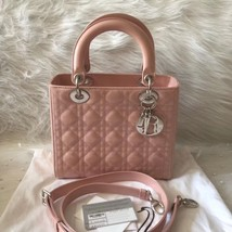Authentic Christian Dior Lady Dior Medium SAKURA PINK Patent Shoulder Tote Bag
