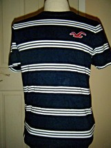 HOLLISTER COTTON NAVY/WHITE STRIPE KNIT TOP SZ JR S/M - $14.50