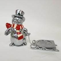 Lenox Yuletide Snowman Votive Holder Christmas Sleigh Metal Silver tone ... - $9.99
