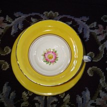 Vintage Delphine Yellow & Hand Painted Flowers Tea Cup and Saucer - $22.69