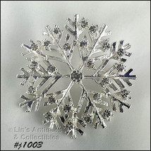 Eisenberg Ice Signed Snowflake Pin Silver Tone with Clear Rhinestones (#... - $49.90 CAD