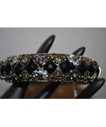 Antique Gold Tone Metal Bangle Bracelet with Black & Clear Acrylic Rhine... - $14.99