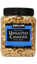 Kirkland Signature Whole Fancy Unsalted Cashews Premium Nuts 2.5 lb Jar - $24.95