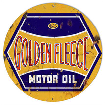 "Golden Fleece Motor Oil Reproduction Gasoline Sign 18""x18"" Round - $46.53"