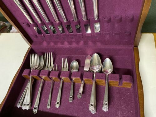 Primary image for 1847 Rogers Bros Silverplate Flatware ETERNALLY YOURS 38 pc for 8+serving+chest