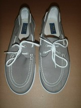 Polo Ralph Lauren Size 11D Boat Lander Gray White Canvas Mens Shoes  - $32.71