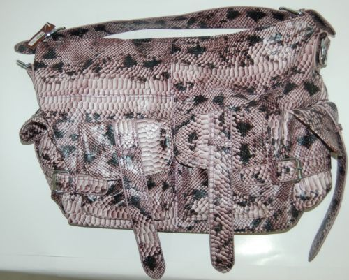 Ins Brand Large Hand Bag Purple Snake Skin Print Has Four Outside  Pockets