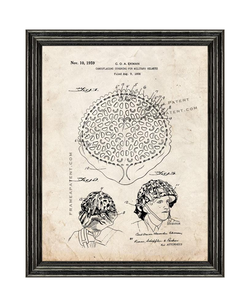 Primary image for Camouflaging Covering Military Helmets Patent Print Old Look with Black Wood Fra