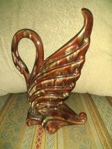 "Vintage Royal Haeger Swan Vase Brown R285 made in USA 9"" high - $33.85"